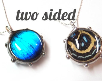 Real Butterfly Wings Bubble Necklace - Two sided