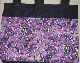 New Handmade Denim Walker Tote Bag Purple Iris Flowers Theme
