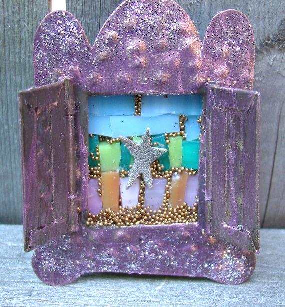 Micro Mini Mosaic Art Shrine - Star Shrine - Altered Art Tin Nicho - Small Mosaic Shrine