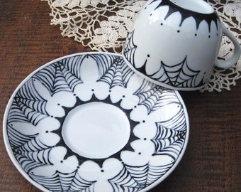 welcome to my parlor - hand painted teacup and saucer - spiderweb china - ooak china