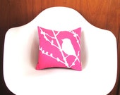 Hot Pink Bird on Cherry Blossom 12 inches Square Small Pillow