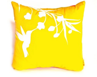 Yellow Hummingbird with Eucalyptus  - Mini 10.5 Inches Square Pillow