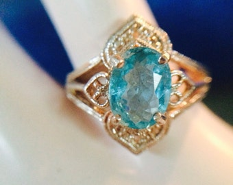 Apatite Neon Blue Gem Sterling Silver Ring size 7