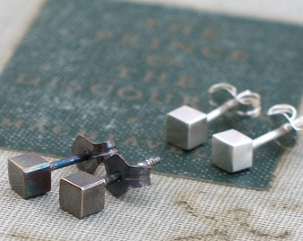 Tiny Silver Cube Studs- bright or oxidized finish