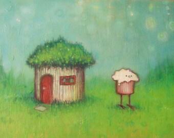 cupcake bird at home original painting