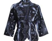 Blue Jacket, Womens blazer, Cropped jacket, Casual blazer, African Indigo Sky Batik Blazer, Hand-dyed Tie Die Jacket, African Jacket