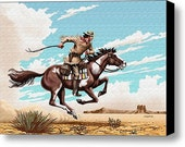 Pony Express Rider Canvas Print, Wild West, Western Landscape, American, Postal Americana, by Walt Curlee