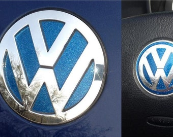 VW Emblem Decal Sticker Inserts in Ultrametallic Vinyl for New Beetles 2011 and older models