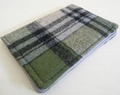 Olive Green and Black Plaid Wool Card Case