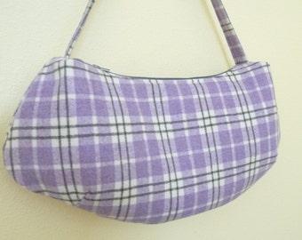 Purple Plaid Wool Hobo Bag, Shoulder Bag, Purse zipper closure