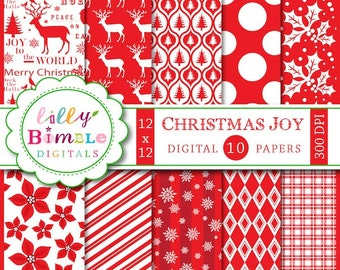 80% off Christmas digital scrapbook paper deer, joy to the world, Instant Download snowflakes paper