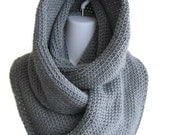 Scrolling Infinity Scarf Grey Eternity Loop Scarf Oversize Gray Cowl Women Men SAMANTHA Ready to Ship - Winter Wife Gift Girlfriend Gift
