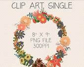 Clip Art Single, Fall Floral Wreath, Autumn Digital Art, Digital Download, Digital Scrapbooking, Flowers, Floral Motif, Downloadable Graphic