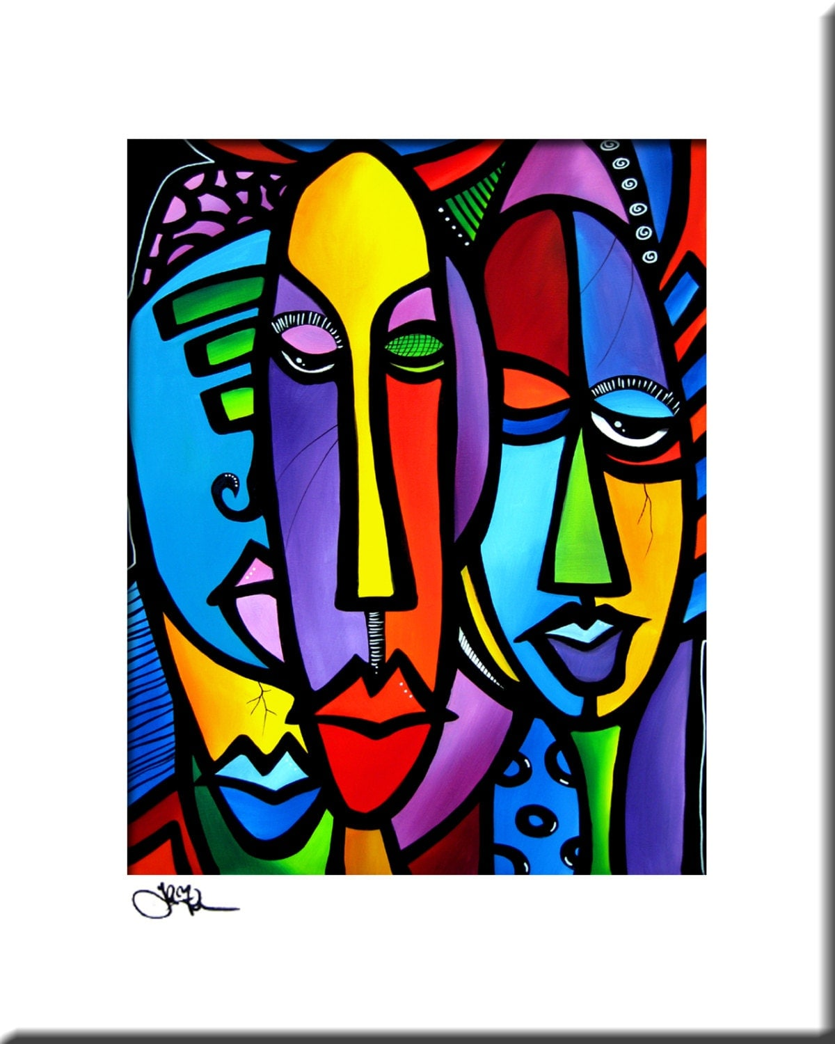 cranium original abstract painting modern art faces print decor by fidostudio ebay. Black Bedroom Furniture Sets. Home Design Ideas