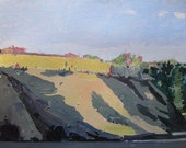 Tommy's Hill at Dusk, Original Landscape Painting on Paper, Stooshinoff