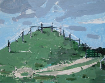 Paddock, July 17, Original Landscape Painting on Paper, Stooshinoff