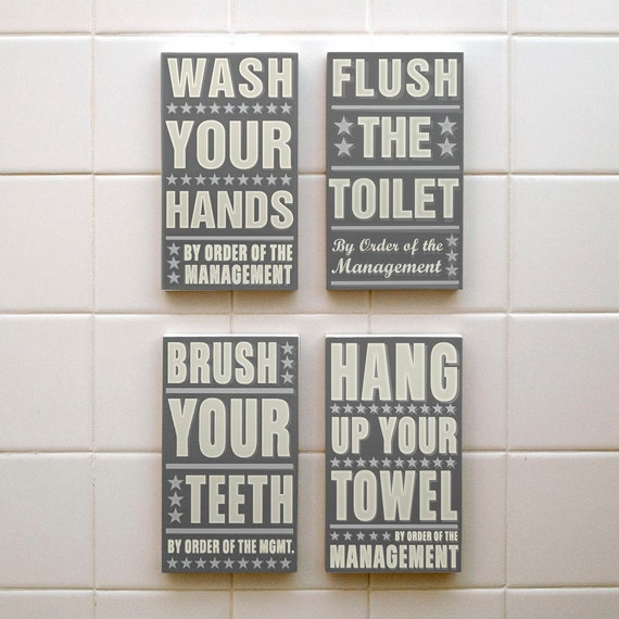 Neutral Bathroom Art Kid Bathroom Decor Set Of 4 By By