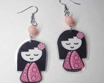 Pink Kokeshi Doll Earrings
