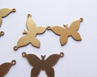 Vintage brass butterfly connector charms