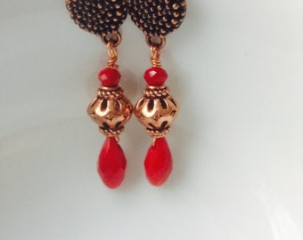 Red velvet copper earrings