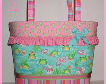 Frogs Dragonfly Diaper Bag Extra Large Changing Pad Or Car Seat Quilt Pink Frog Hot Pink Lime Green Aqua Blue Bows Colorful Stripes