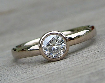 Moissanite Solitaire Engagement Ring with Recycled 14k Palladium White Gold, Made to Order