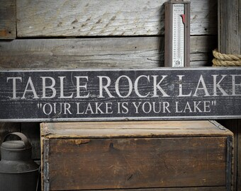 Custom Lake House Name Sign - Rustic Hand Made Vintage Wooden ENS1000576