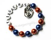 Softball or Baseball Charm bracelet. YOU CHOOSE COLOR Personalized bracelet. Sport Team Gift Detroit Tigers inspired Baseball or Your Team