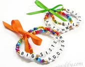 Rainbow Name Bracelet Personalized Children's Jewelry 1 Set of 2 with Bow Big Sister Little Sister Infant Child Adult Sizes Stocking Stuffer