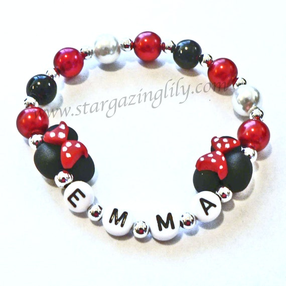 Mini Mouse Bracelet Hypoallergenic Personalized with Name black mini mouse ears with Red Black Polka Dots