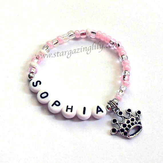 Personalized Pink Princess Party Favors for kids Name bracelet Pink with crown or tiara charm Party Favor Bracelet Princess Birthday Party