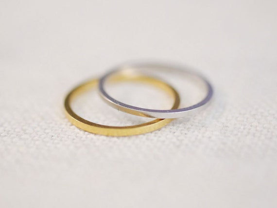 linear . midi . SET OF 2 // plain midi ring . simple ring band . single knuckle ring . silver or gold . build your stack
