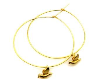 Birdhouse Jewelry - Hoops with Tiny Flying Birds