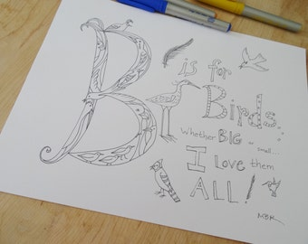 B is for Bird Digital Download, Printable Coloring Page, Bird Alphabet Coloring Page for Adults and Children, Instant Download PDF File