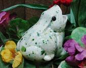 Ceramic Garden Frog Plant Tender or Water Feeder Spike for Indoor Potted Plants or Outdoor Container Gardens in Herb Garden Glaze
