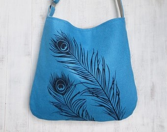 SALE 30% OFF - Blue Tote Handbag - Shoulder Messenger Bag for Women - Peacock Feathers Screen Printed Hemp Bag - Crossbody Bag - Fabric Tote
