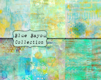 Blue Bayou Collection INSTANT DOWNLOAD Digital Paper 6 Pack 8.5x11 inch Grungy Grafitti