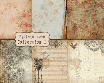 Digital Paper 8.5x11 inch INSTANT DOWNLOAD 6 Pack Vintage Love Collection Romantic French Floral Grunge Victorian