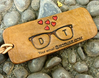 Personalized Luggage Tag Personalized Glasses and Hearts