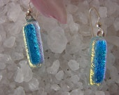 reserved for catherine   Clear Blue and Crystal Dichroic Glass Earrings- Medium Glass Dangle -Mosaic Glass- Dichroic Jewelry- Made in Mexico