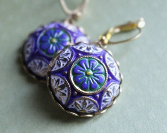 Evelyn Earrings - Vintage Blue & White Glass - Gold Plated Leverback Earwires