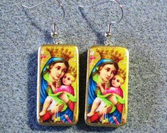 Virgin Mary Jesus Catholic Art Recycled Mini Domino Dangle Earrings