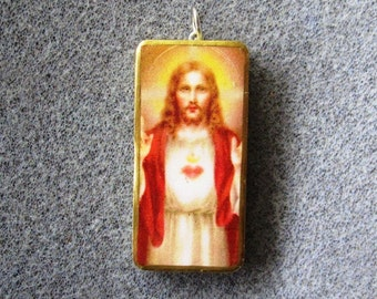 Jesus Sacred Heart Catholic Christian Art Recycled Domino Pendant Necklace SH5