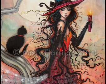 October Flame - Witch Tabby Cat Halloween Fantasy Art by Molly Harrison - 5 x 7 print