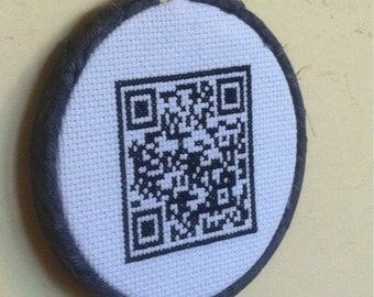 "QR Code Cross Stitch ""Talk Nerdy To Me"""