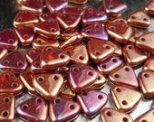 Red Bronze Luster Czechmates Triangle 2 Hole Czech Glass 6mm Bead - 5 gram pack