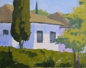 Garden House - 10 x 8 Inch Original Impressionist Landscape Oil Painting of a House and Garden - Living Room Art