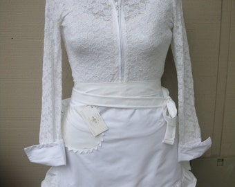 Womens White Apron - Bridal Aprons - White Bride Aprons -  Shabby Chic Aprons - French Market Aprons - All White Apron - Annies Attic Aprons