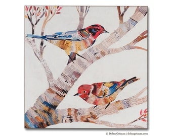 The Warblers Pair of Songbirds Wood Print