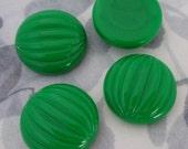 12 pcs. vintage fluted ridged green plastic cabochons 20mm - f2955
